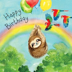 FIZ41  Happy Birthday Card Sloth